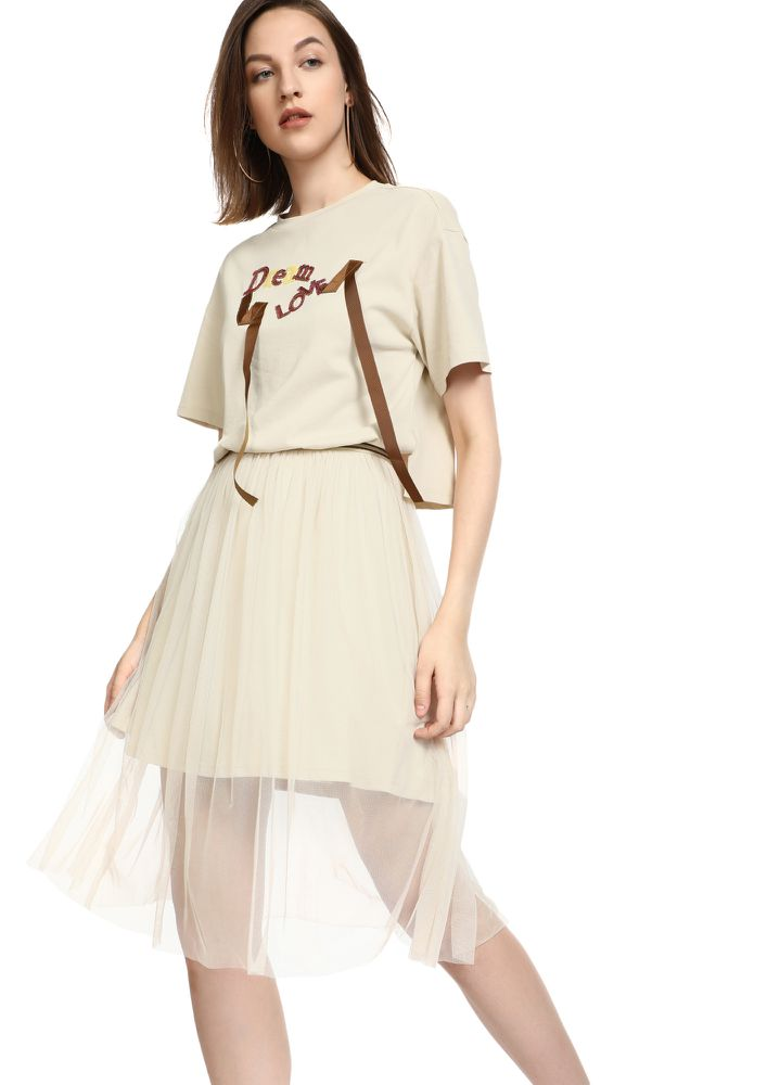 DREAM LOVE BEIGE MIDI DRESS