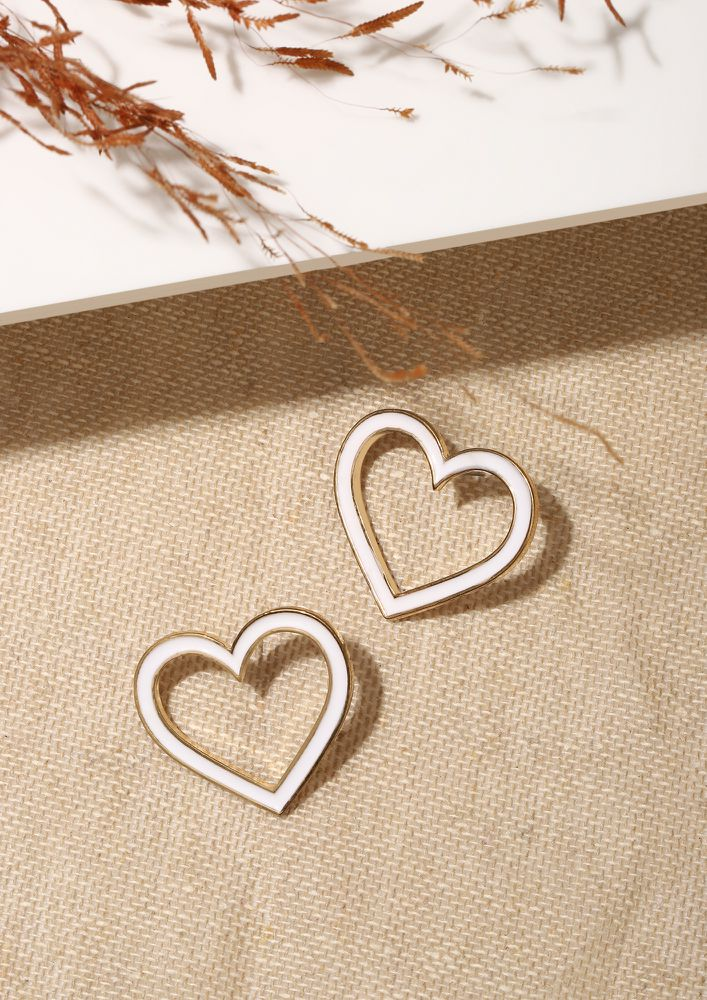 GOSS BABE HEARTS TO WIN WHITE EARRINGS