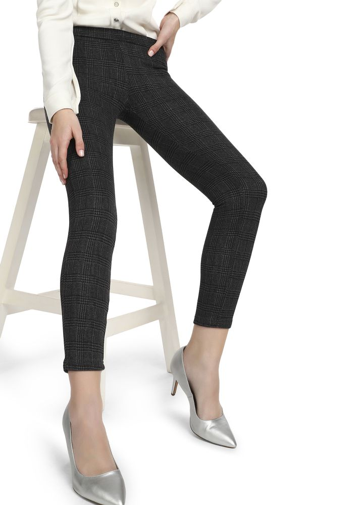BUSINESS MIND GREY GLEN PLAID TREGGINGS