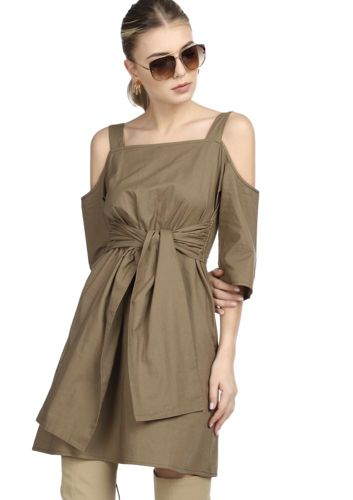 PERFECTLY BALANCED OLIVE BROWN SHIFT DRESS