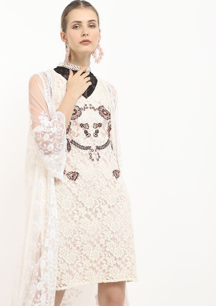CRAVING ON LACE OFF-WHITE SHIFT DRESS