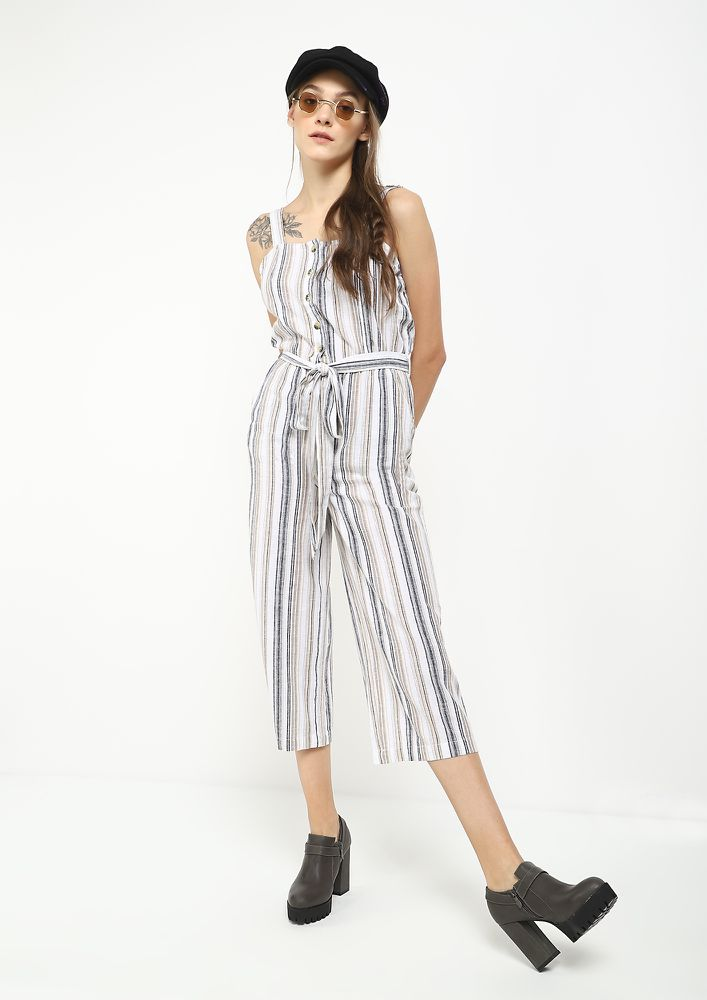 GOING WITH STRIPES BLACK BEIGE JUMPSUIT