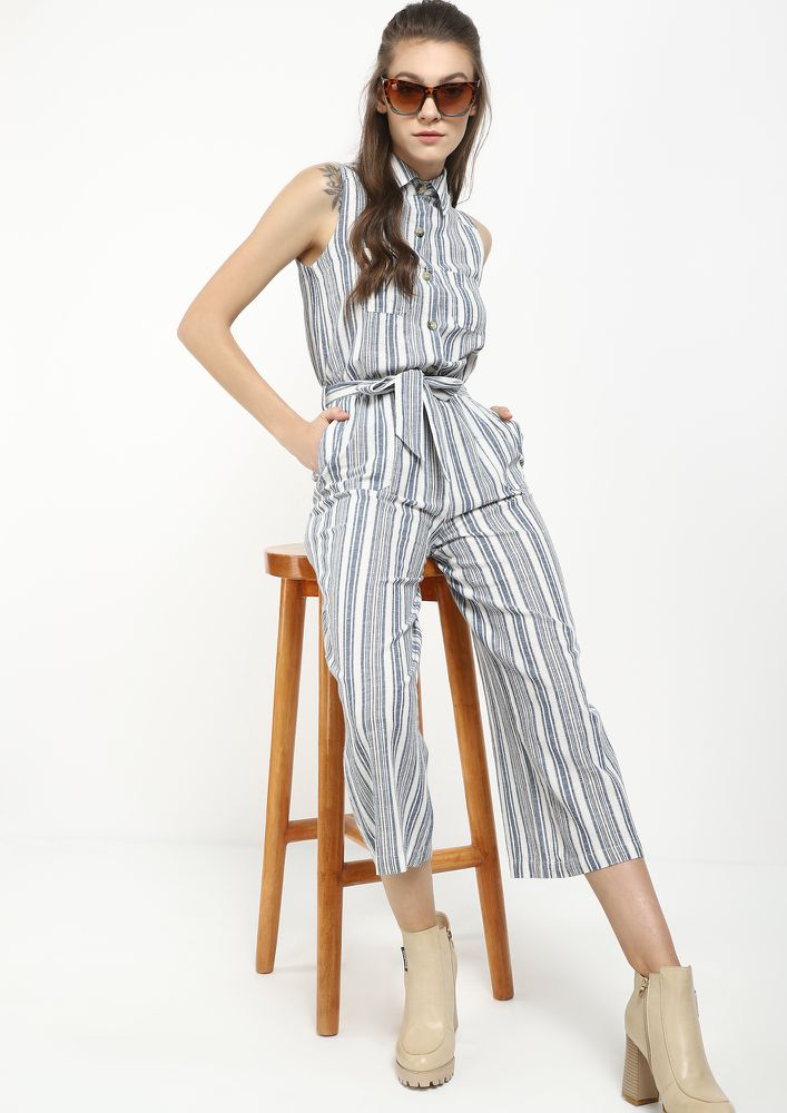 SPRUCED UP IN BLUE STRIPED JUMPSUIT