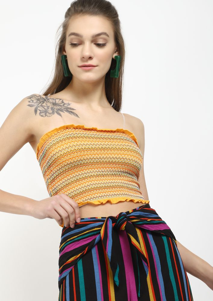 FROM A BOHO TRIBE YELLOW CROP TOP