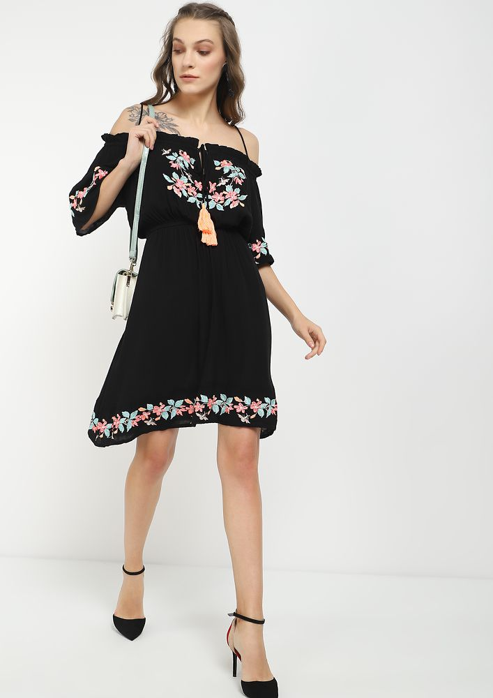 MY PRETTY FLOWERS BLACK SKATER DRESS