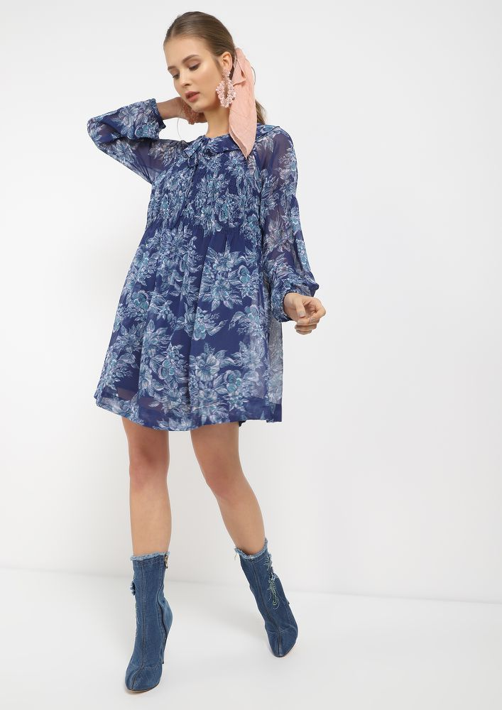YOU MAKE ME HAPPY BLUE TUNIC DRESS