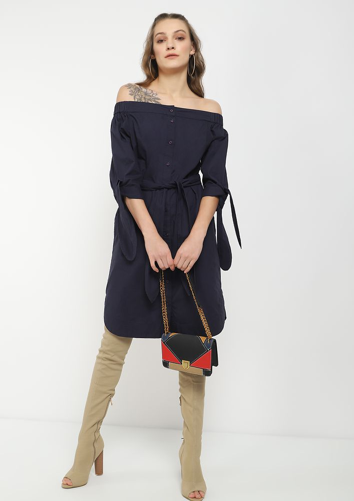 WE LIKE IT SHIRTY NAVY SHIRT DRESS