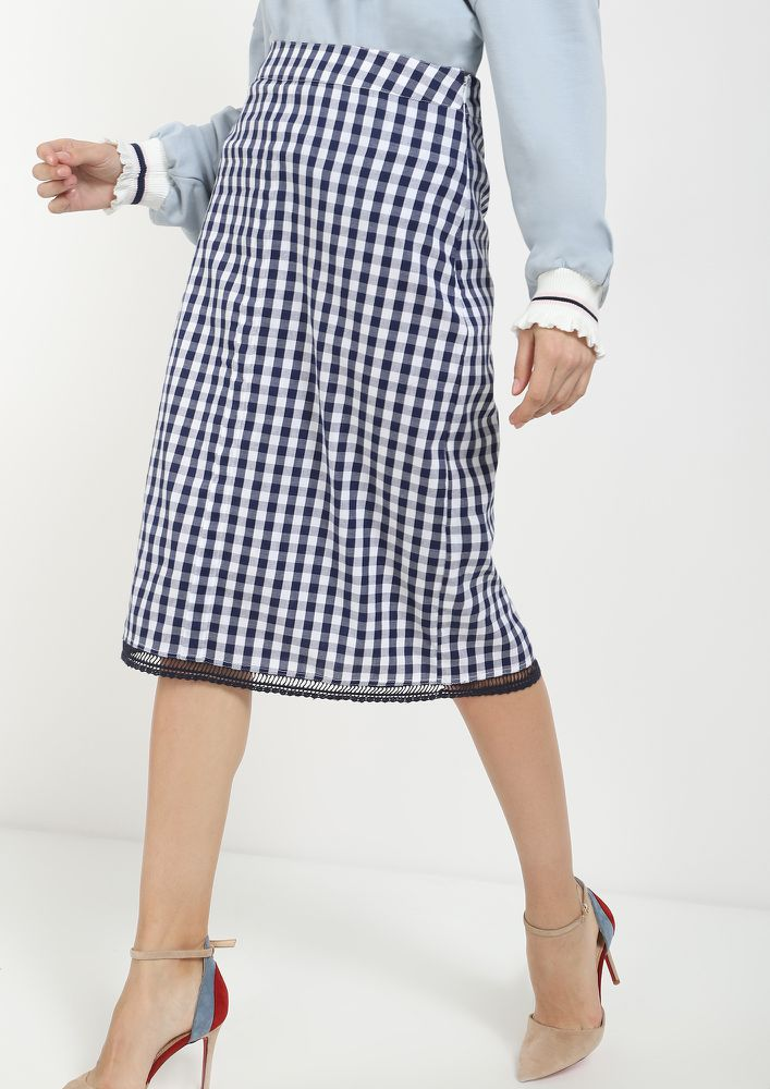 YOU'VE GOT A WAY BLUE MIDI SKIRT