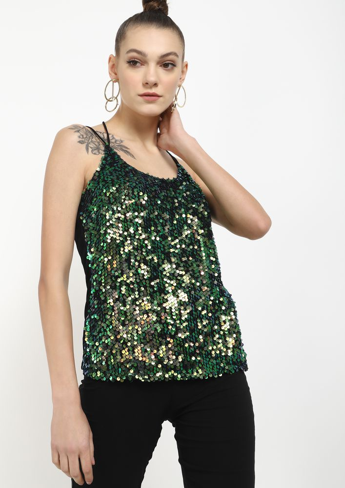 WHATS NOT NOT TO LOVE GREEN CAMI TOP