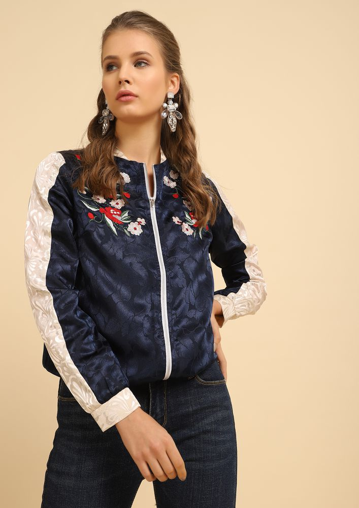 GOT A PARTY MOOD BLUE BOMBER JACKET
