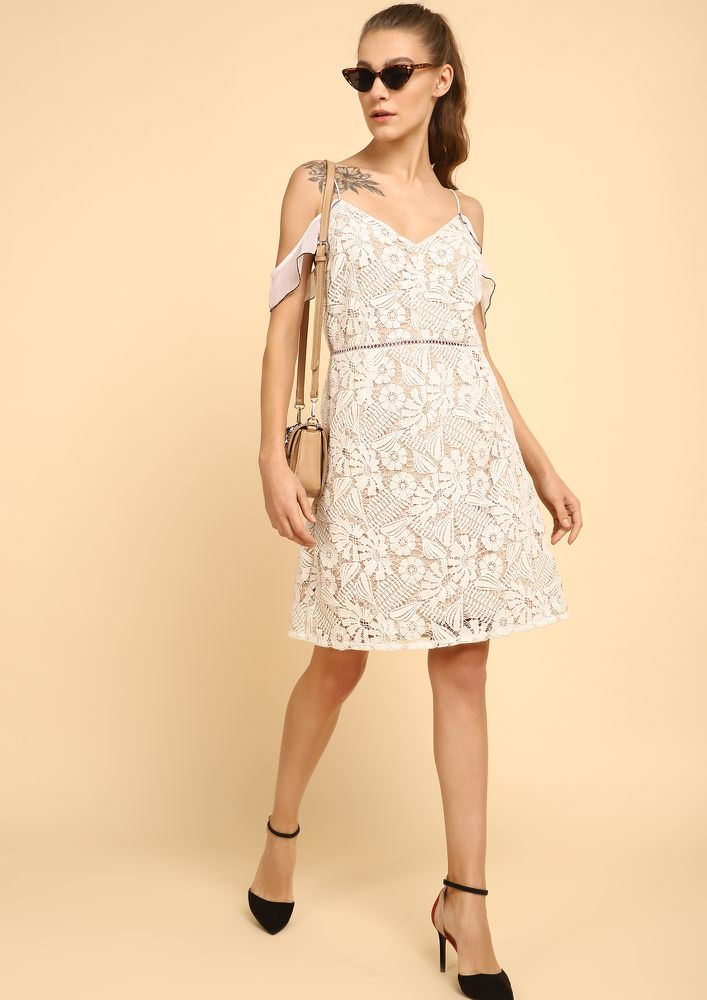 HAPPY HOLIDAYS WHITE SHIFT DRESS