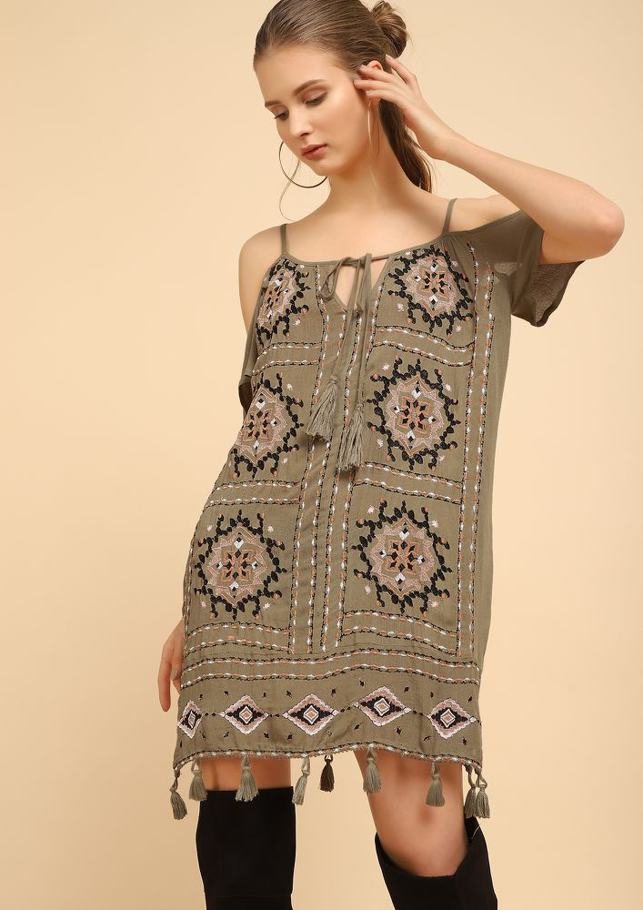 BE TEHER FOR ME OLIVE FREEN SHIFT DRESS