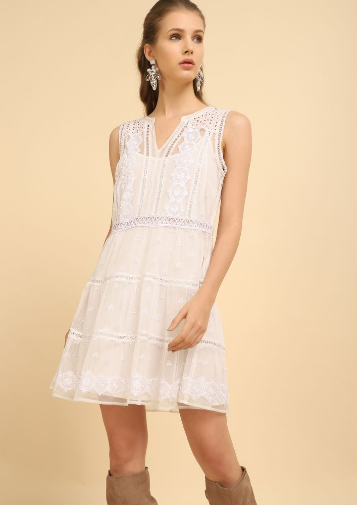 ROMANCE BY THE MOON WHITE SKATER DRESS