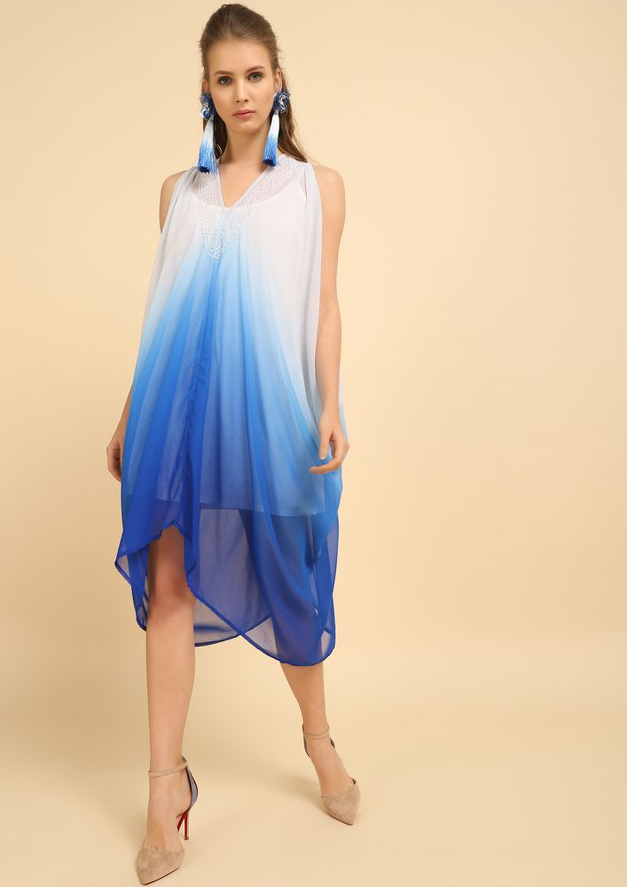 TOAST TO THE COAST MULTICOLOR ASYMMETRICAL DRESS