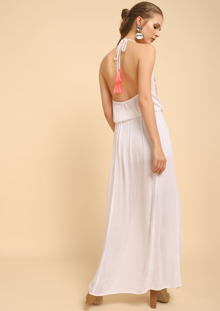 SENDING YOU HOLIDAY NOTES WHITE MAXI DRESS