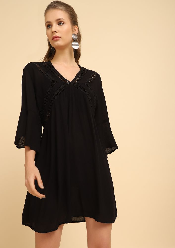 READY TO ROCK BLACK TUNIC DRESS