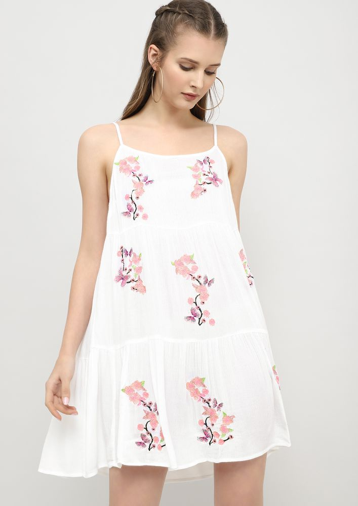 FLY LIKE THOSE BUTTERFLIES WHITE SHIFT DRESS
