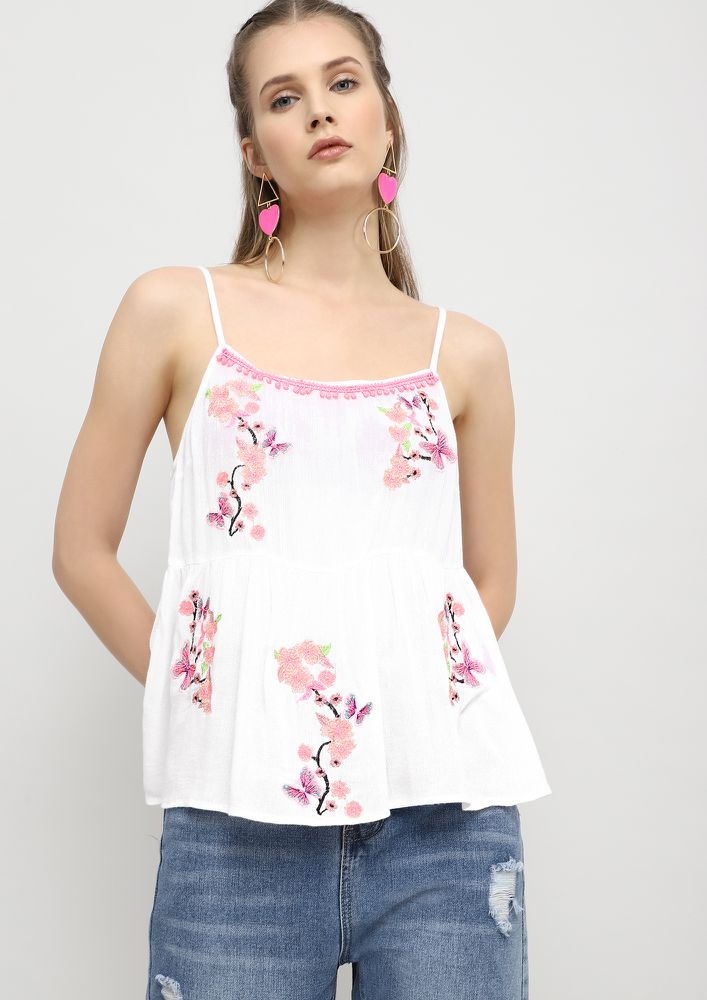 RUNNING WITH BUTTERFLIES WHITE CAMI TOP