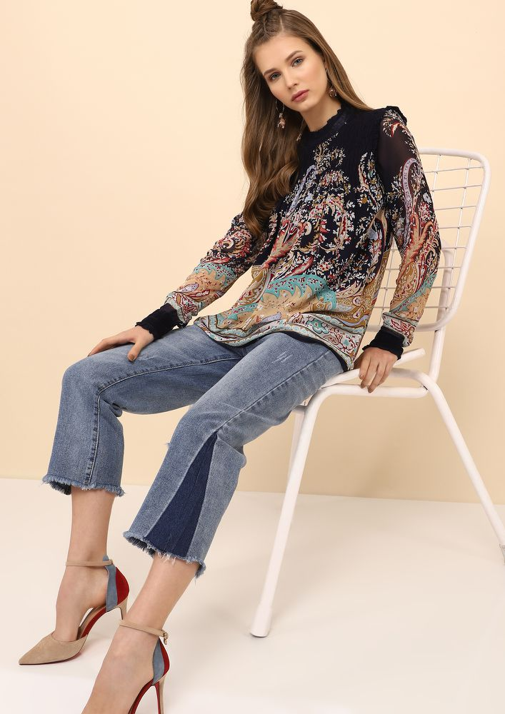 PAISLEY PERFECTION NAVY TOP