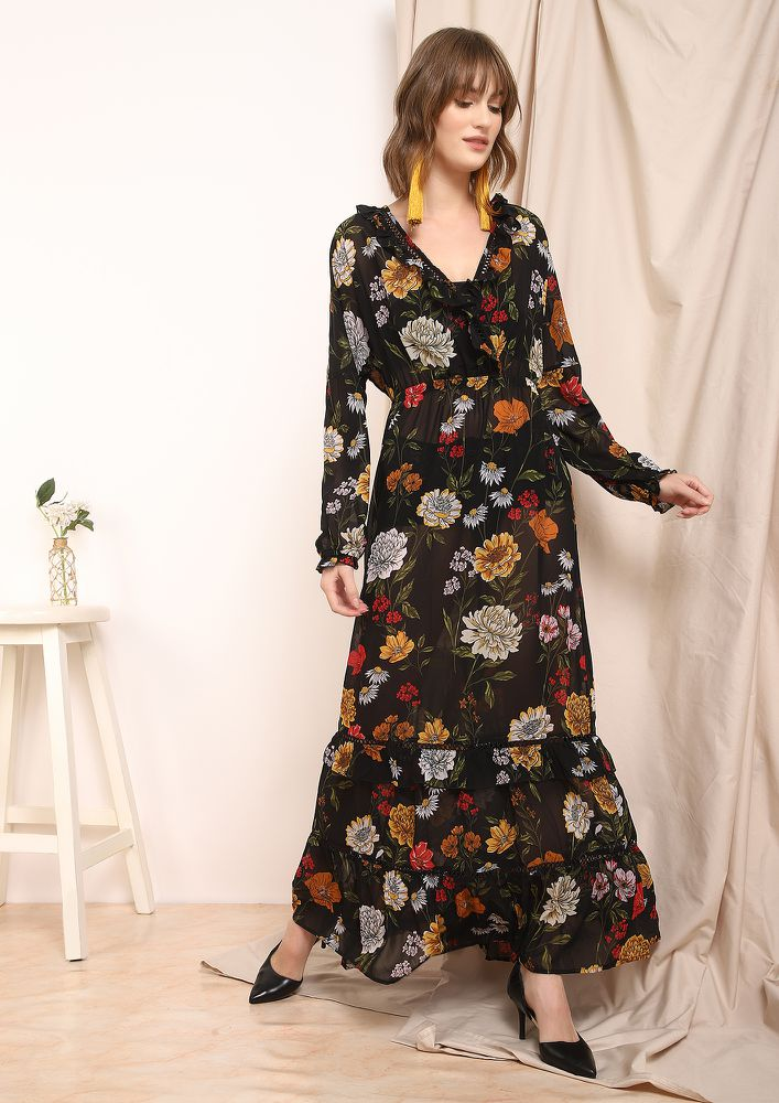 CALL ME ON SUNDAYS BLACK MAXI DRESS