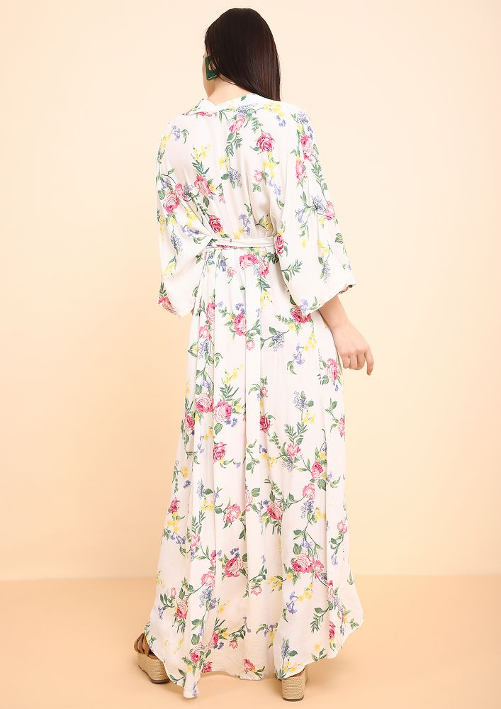 ALL WRAPPED UP IVORY MAXI KIMONO DRESS