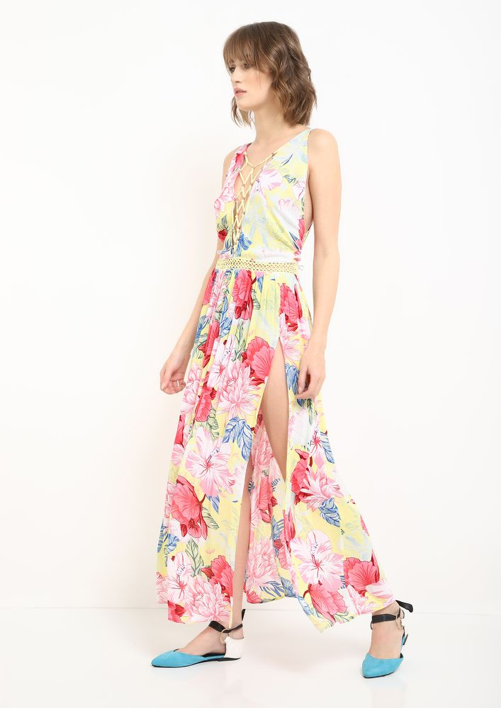 A FLORAL SENSATION MULTICOLOR MAXI DRESS