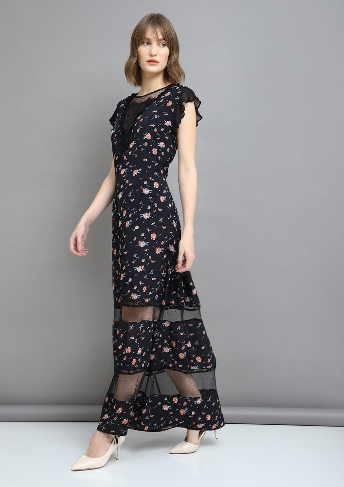 FLORAL OBSESSION BLACK MAXI DRESS