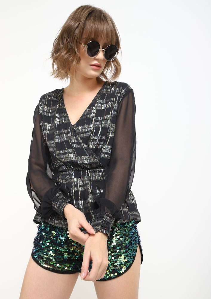 SHIMMER LIKE THIS PEPLUM BLACK TOP