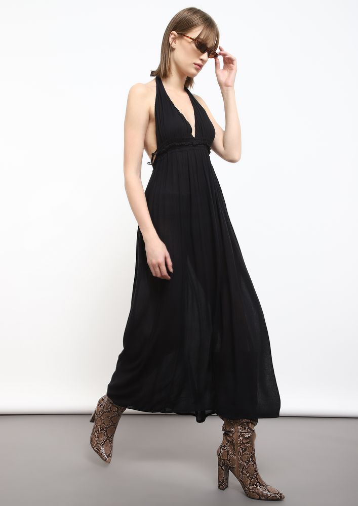 LESS TALK BLACK MAXI DRESS