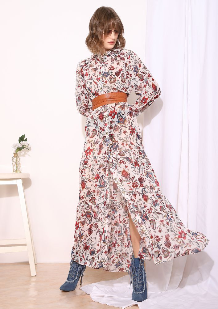IN FLORAL TREAT MULTICOLORED MAXI DRESS