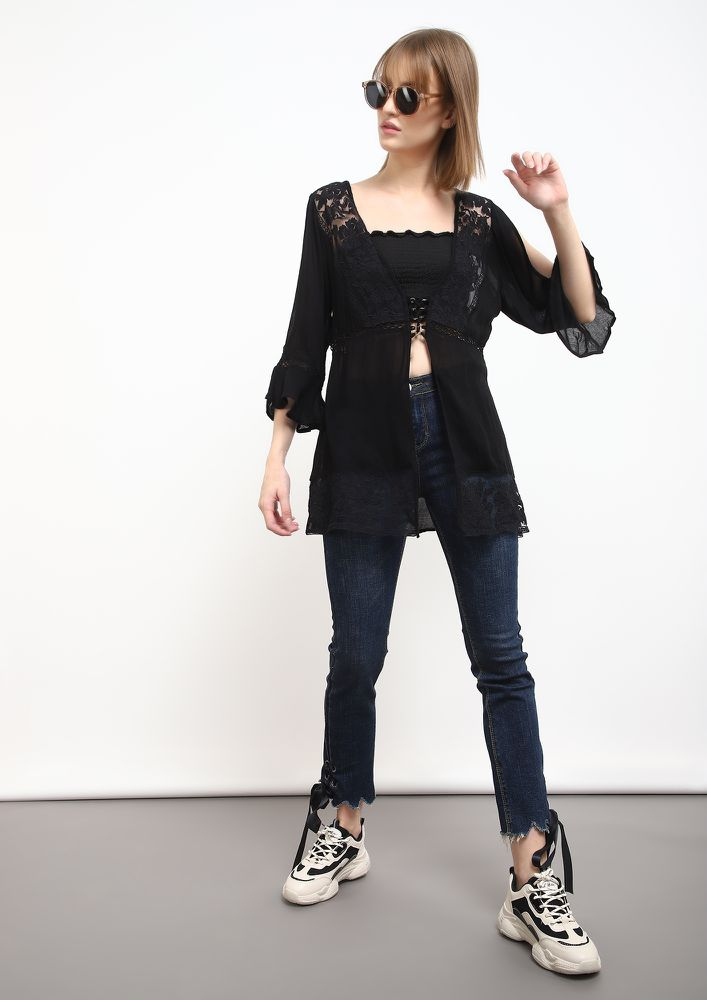 OPEN UP BLACK TUNIC TOP