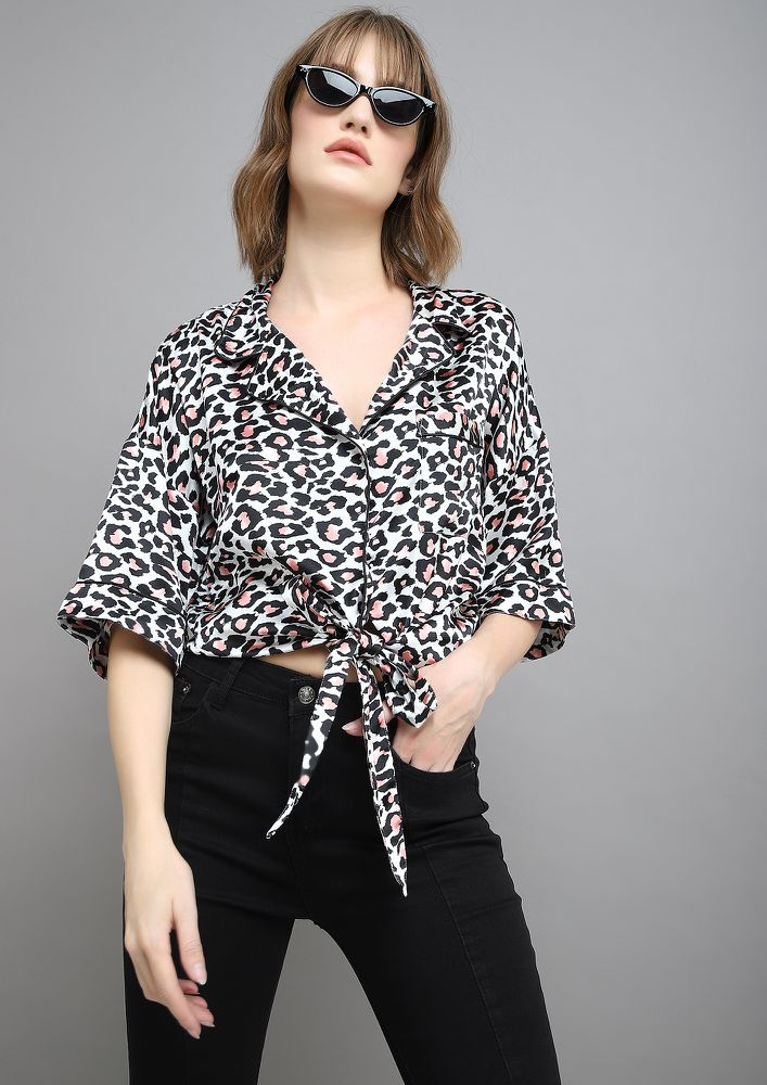 PRINTS IN TOWN BEIGE BLOUSE