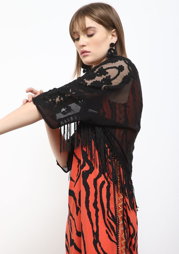 WILD PRINT BLACK ASYMMETRICAL DRESS