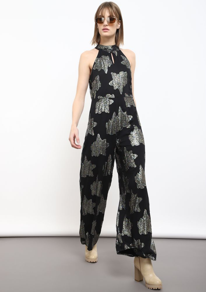 STARRY NIGHT BLACK AND SILVER JUMPSUIT