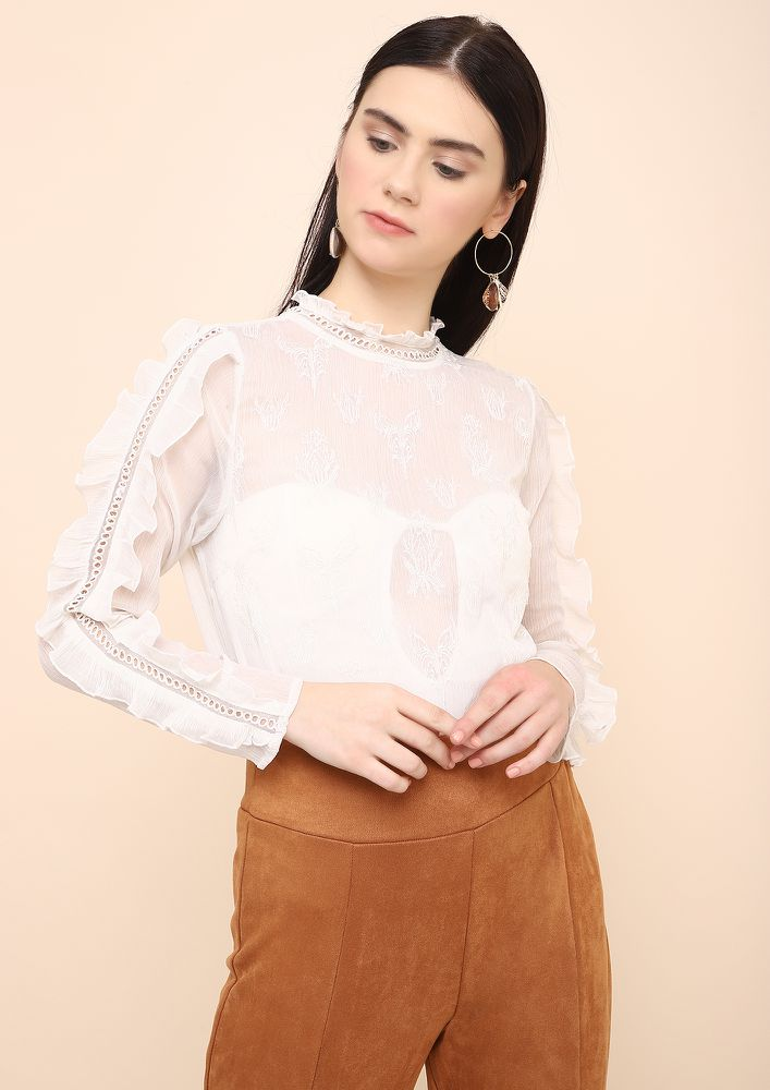 FRILL SEEKER WHITE SHEER TOP