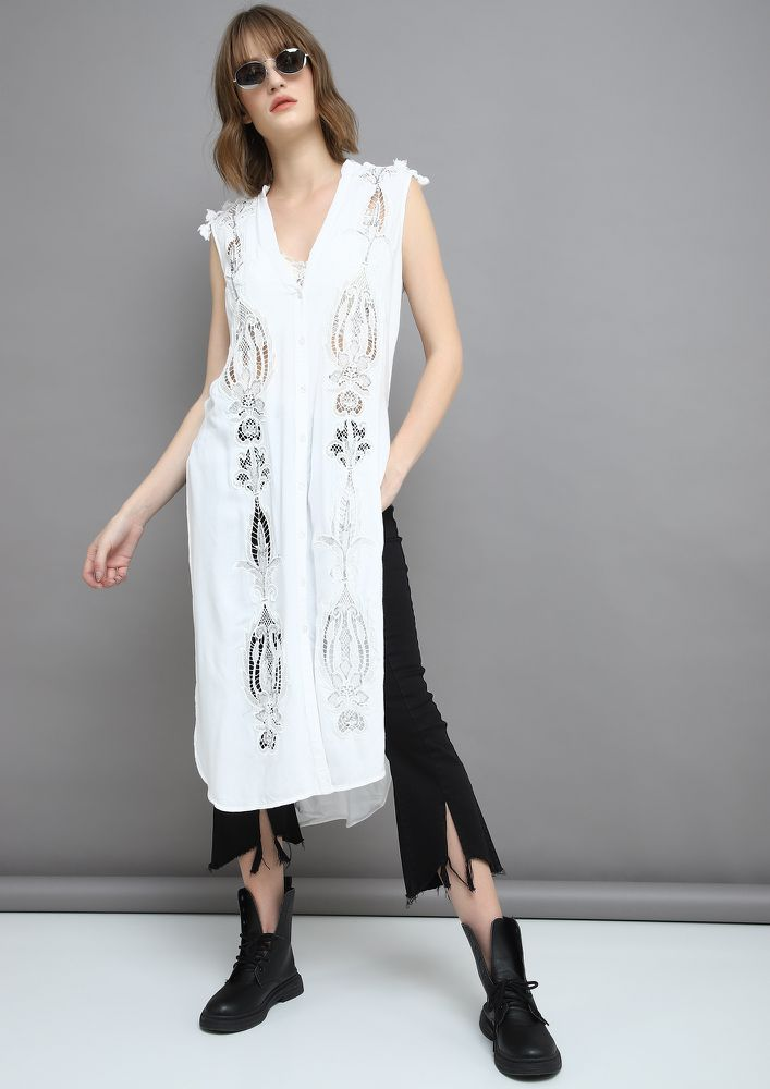 WHY THE LONG FACE WHITE MAXI TOP