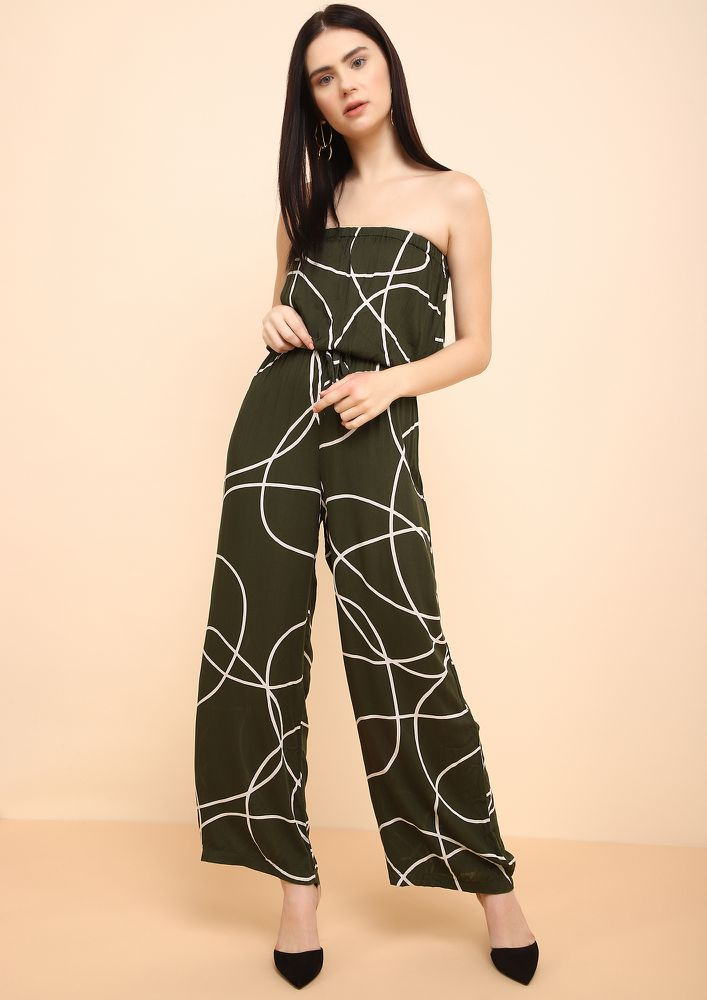 ON THE SPOT GREEN BANDEAU JUMPSUIT