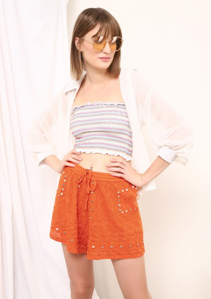 BOHO CIHC ORANGE CASUAL SHORTS