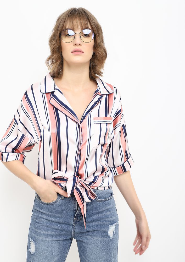 PLAYING WITH STRIPES WHITE PINK CROPPED SHIRT