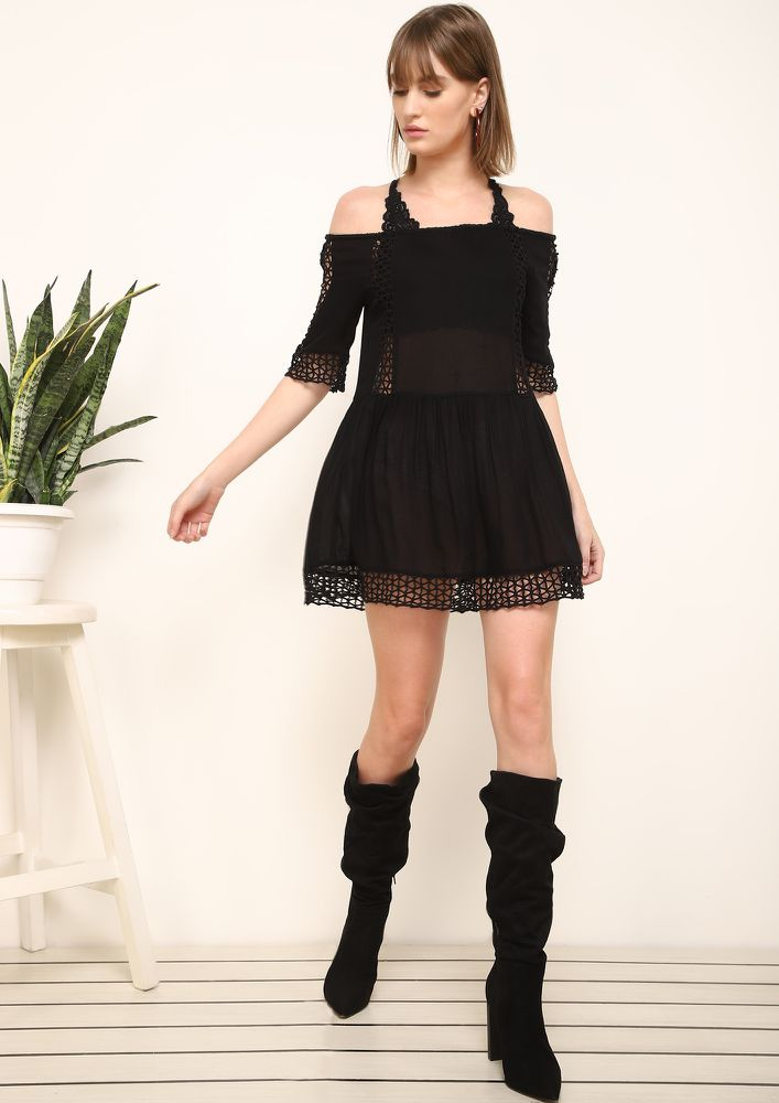 CRISS CROSS BLACK TUNIC DRESS