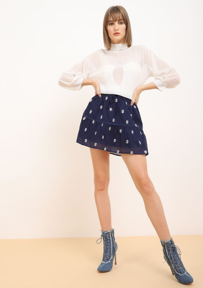 GOT IT GOING BLUE SKATER SKIRT