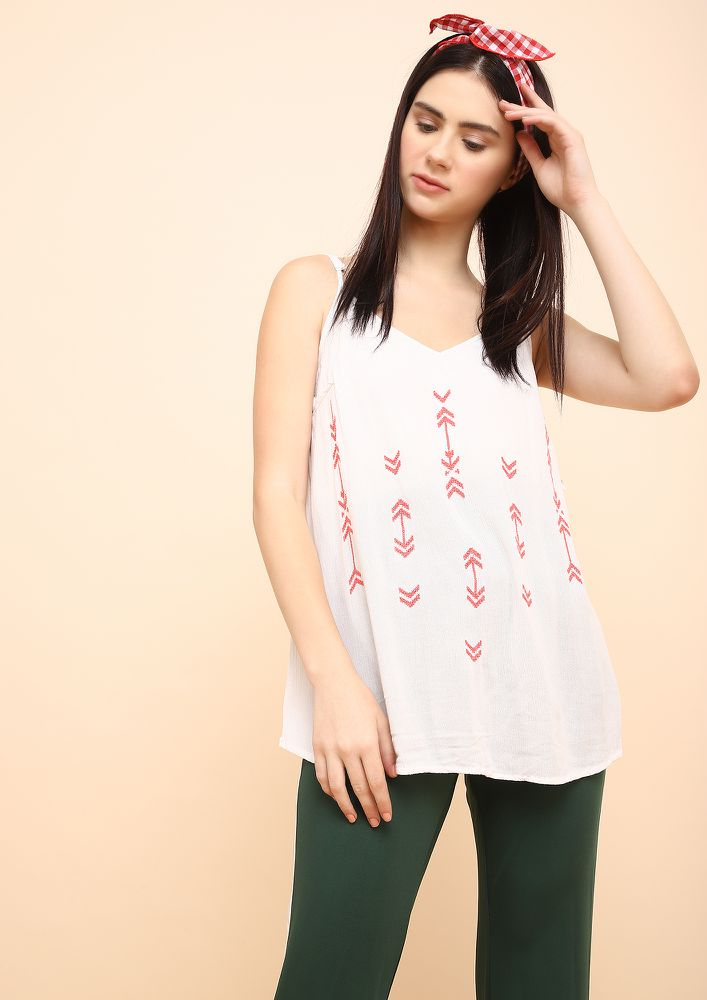 ARROWED DOWN WHITE CAMI TOP
