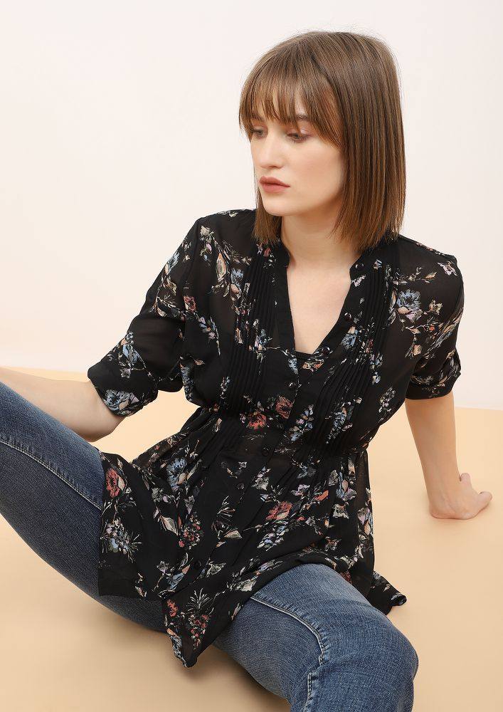 LET'S GO OUT BLACK TUNIC TOP