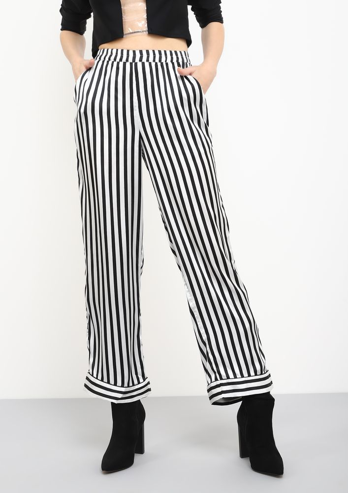 PRETTY STRAIGHT AND FORWARD BLACK STRIPED TROUSERS