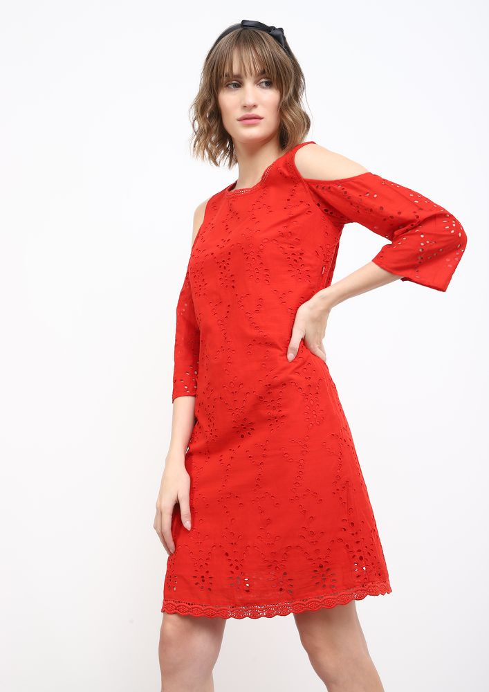 SASSY IN SCHIFFLI RED SHIFT DRESS