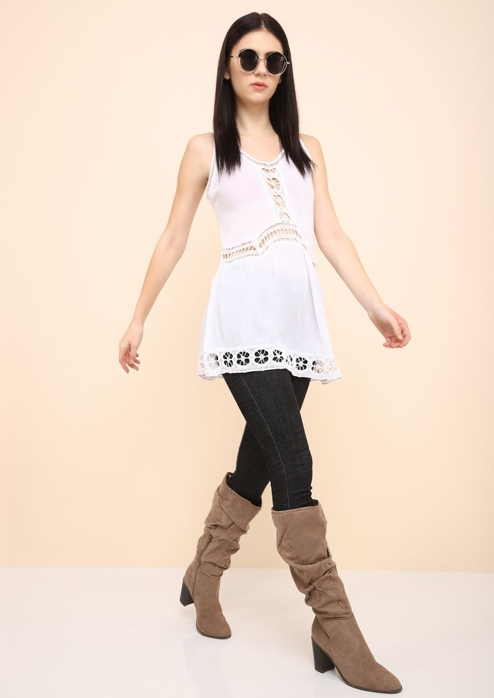 LET'S VIBE TOGETHER WHITE TUNIC TOP