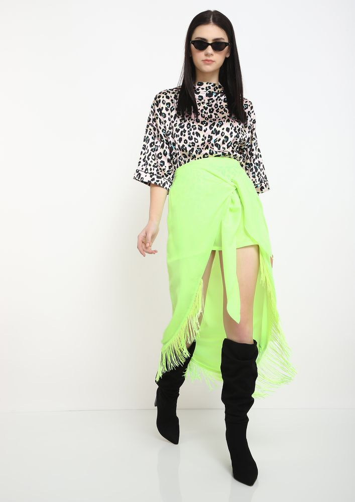 SWAY YOUR FRINGES NEON HI-LOW MINI SKIRT