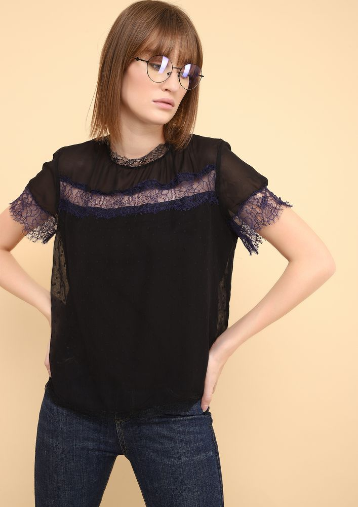 MESHED UP BLACK BLOUSE