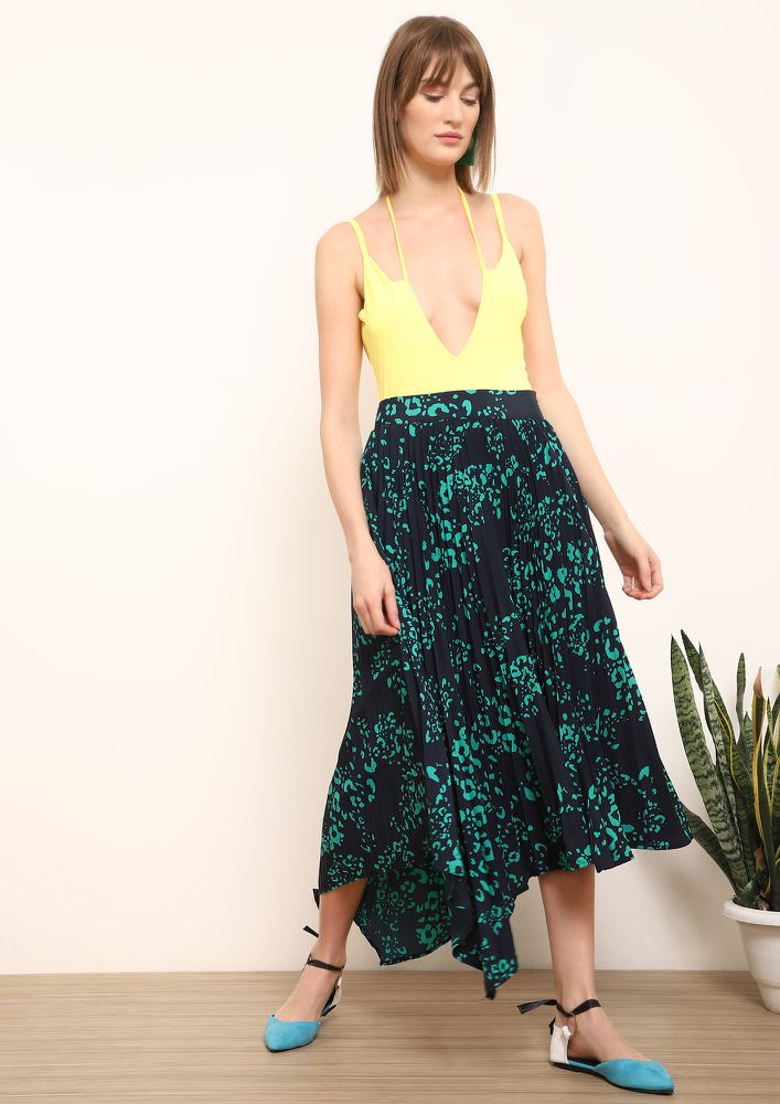 PLEAT NOW OR NEVER GREEN BLACK MIDI SKIRT