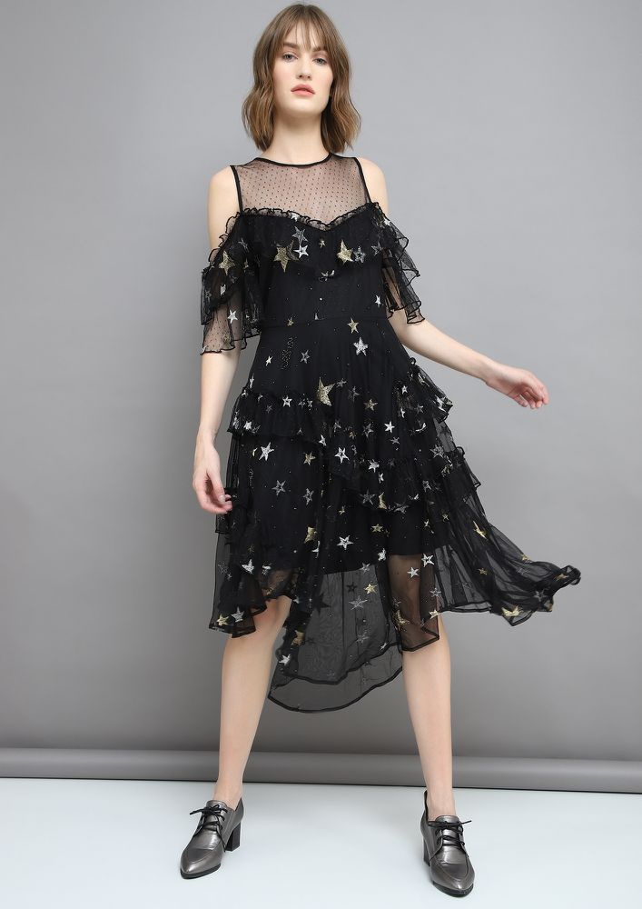 STARRY LUCK BLACK SKATER DRESS